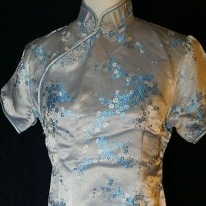 Traditional Classic Chinese Womens Top Light Blue
